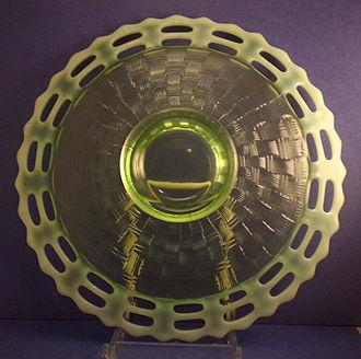 Fenton Art Glass Company - Green opalescent Basket Weave plate