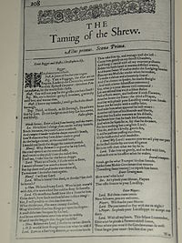 Faksimil av första sidan i The Taming of the Shrew från First Folio, publicerad 1623