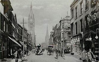 Preston, Lancashire - Fishergate and the Town Hall clock tower in about 1904