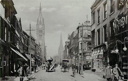 Fishergate and the Town Hall clock tower in about 1904 Fishergate, Preston, about 1904.jpg