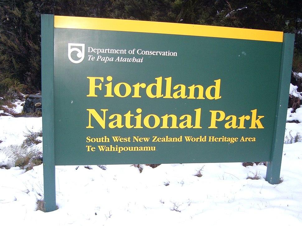 Fjordland National Park sign
