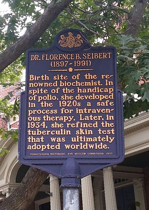 Florence B. Seibert - Dr. Florence Seibert Historical Marker in Easton, PA.