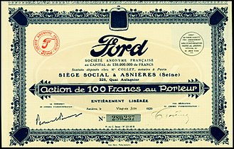 Ford SAF - Share of the Ford S. A. Française, issued 21. June 1929