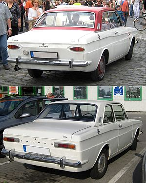 Ford Taunus P6 - The rear light clusters on the 12M took the form of an extended lozenge. The rear light clusters on the 15M were rectangular.
