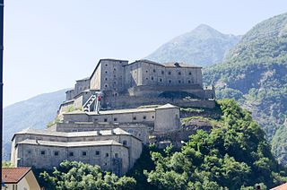 Fort Bard fortified complex in the Aosta Valley, Italy
