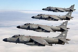 Fleet Air Arm - A formation of four Sea Harrier FA.2s from 801 NAS in 2005.