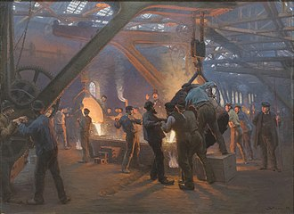Foundry - From Fra Burmeister og Wain's Iron Foundry, by Peder Severin Krøyer, 1885.