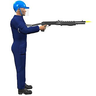 Franchi SPAS-12 - Franchi SPAS-12 shotgun showing use of stock-end hook as support to help aiming when firing with one hand