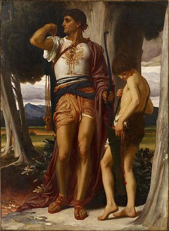 Jonathan (1 Samuel) - Frederic Leighton, Jonathan's Token to David . Jonathan shooting three arrows  to warn David