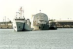 Freedom Star towing Poseidon barge with STS-95 ET (KSC-98PC-0757).jpg