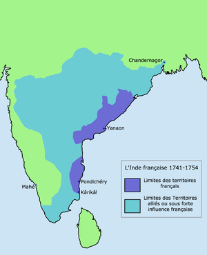 Siege of Calcutta - Maximum extent of French influence 1741-1754
