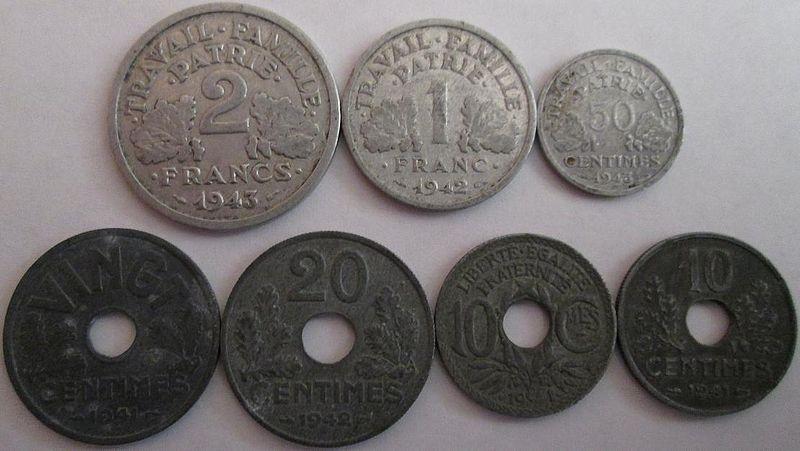 French coins zinc %26 aluminum World War II 1940s.jpg
