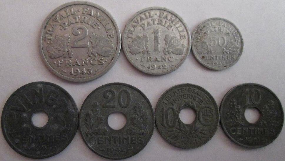 French coins zinc & aluminum World War II 1940s