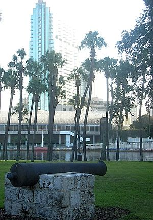 History of Tampa, Florida - A surviving Ft. Brooke cannon displayed on the University of Tampa campus across from downtown