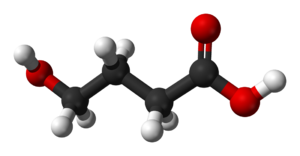 Ball-and-stick model of the GHB molecule. Stru...