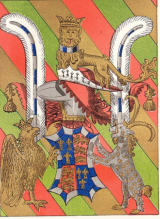 Achievement (heraldry) - Heraldic achievement forming the Garter stall plate of John Beaufort, 1st Duke of Somerset(d.1444), KG, St. George's Chapel, Windsor. The earliest garter plate with supporters.  It includes the badge of an ostrich feather, here shown as a pair,  blazoned: feather argent pen gobonne argent and azure