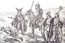 Gaulish soldiers. Three men standing with weapons and one man on a horse while another is laying on the ground, presumed dead.