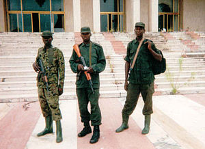 Second Congo War - Congolese rebel soldiers in the northern town of Gbadolite in 2000
