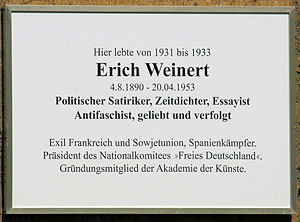 Erich Weinert - Memorial plaque of Erich Weinert in Wilmersdorf, Berlin.