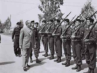 Pierre Billotte - General Pierre Billotte inspecting an honor guard during a visit to Israel in March 1957