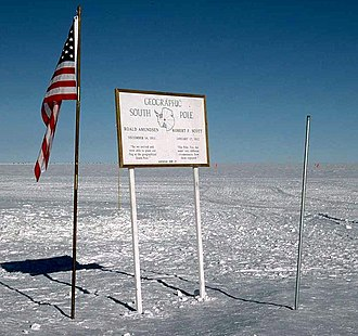 South Pole - The Geographic South Pole is marked by the stake on the right.
