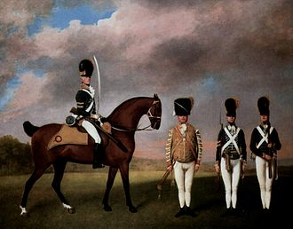 10th Royal Hussars - 10th Hussars, 1793, by George Stubbs; the regiment was known at this time for its elaborate and expensive uniforms