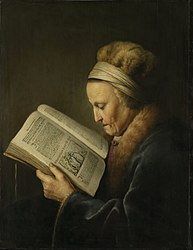 Gerrit Dou: Old Woman Reading a Book