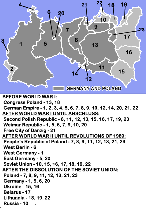 Germany and Poland borders during the 20th century Wlegend
