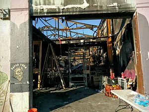 2016 Oakland warehouse fire - Ghost Ship warehouse interior, post fire
