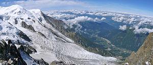 Bossons Glacier - Bossons Glacier and Taconnaz Glacier from Aiguille du Midi, 2009