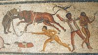 Gladiators face animals Zliten mosaic.JPG