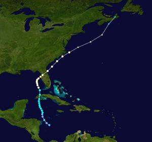Hurricane Gladys (1968) - Image: Gladys 1968 track