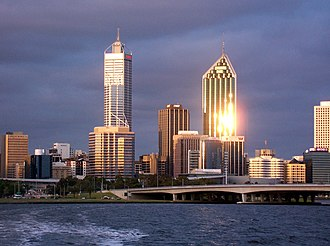 108 St Georges Terrace - Image: Golden reflection at dusk