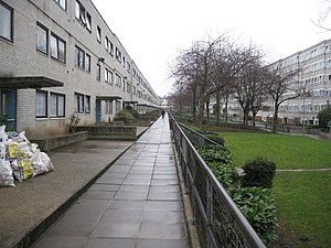 Gospel Oak - A view of the Lismore Circus Estate, two parallel blocks of continuous housing units dating from the early 1970s.