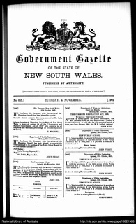 <i>Government Gazette of the State of New South Wales</i> Academic journal
