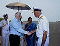 Governor of Kerala being received by Vice Admiral Girish Luthra, Flag Officer Commanding-in-Chief, Southern Naval Command on his arrival at INA.jpg