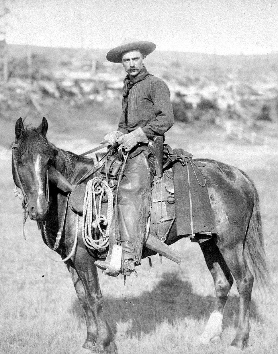 A black or white photograph of a cowboy posing on a horse with a lasso and rifle visible attached to the saddle