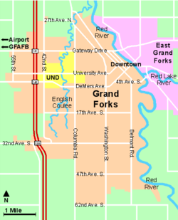 Map of the city of Grand Forks