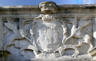 George Granville, 1st Baron Lansdowne - Heraldic achievement of George Granville, 1st Baron Lansdowne, detail from parapet of Queen Anne's Walk, Barnstaple, Devon, completed circa 1713