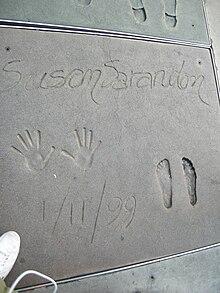 Sarandon's hand and footprints at Grauman's Chinese Theatre