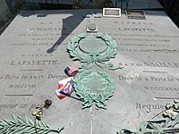 Grave of the Marquis de Lafayette and of his wife Marie Adrienne Françoise de Noailles - Picpus Cemetery, Paris 75012. 2.jpg