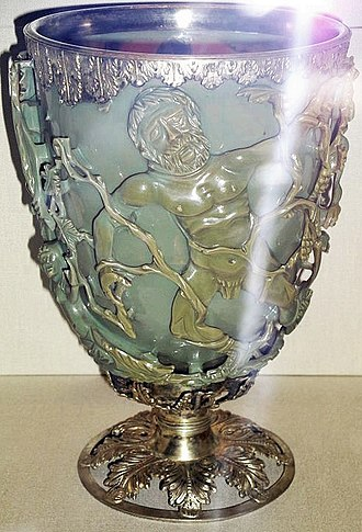 Lycurgus Cup - Photographed front-lit with flash, the cup appears in the green colour it has without light coming through the glass