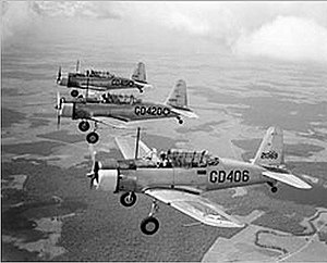 Greenwood–Leflore Airport - Image: Greenwood Army Airfield Vultee BT 15 Three Ship Formation