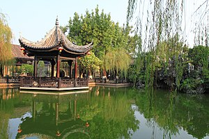 Lingnan architecture - The pond of Yuyum Sanfong.