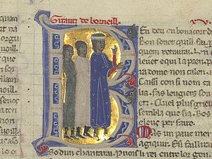 "Giraut de Bornelh - ""Girautz de Borneill"" (as written at top) in a 13th-century chansonnier."