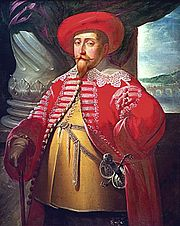 Gustav II Adolf in Polish 'delia' coat, painting by Merian, 1632