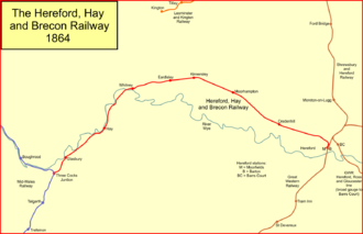 Hereford, Hay and Brecon Railway - The Hereford, Hay and Brecon Railway in 1864