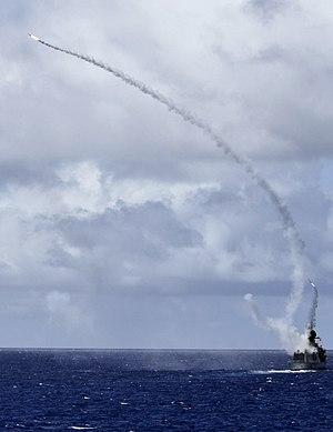 RIM-162 ESSM - Image: HMAS Ballarat (FFH 155) fires RIM 162 missiles in July 2016