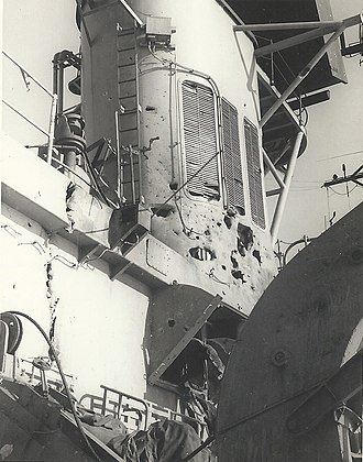 HMAS Hobart (D 39) - Damage to Hobart from the USAF missile