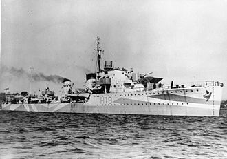 G and H-class destroyer - Harvester in 1942, with a Hedgehog in lieu of 'A' gun and a Type 271 radar above the bridge